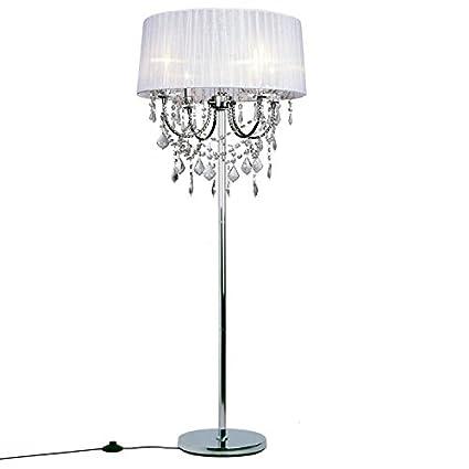 Amazon.com: Modernos Crystal salón lámpara de piso tela ...