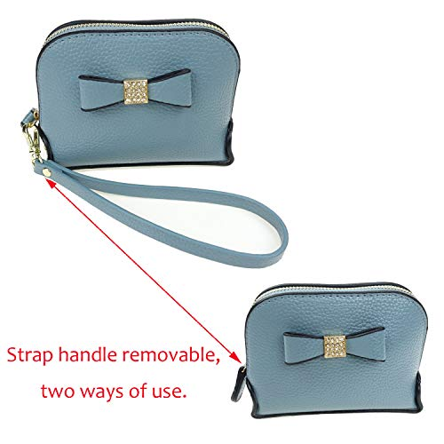 Coin Purse Wallet leather Wristlet Handbags with Wrist Strap Cute Mini Designer Pouch Great Gifts for Women Girls (Bow Blue) by JZE (Image #7)