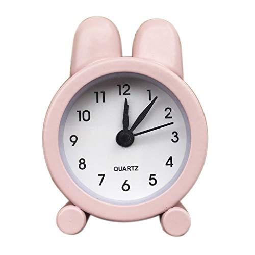 PASATO Creative Cute Mini Metal Small Alarm Clock Electronic Small 5 inch Round Alarm Clock Simple Design Beside/Desk Alarm Clock(Pink,One Size)