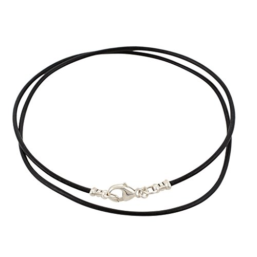 Silver Leather Necklace - Sterling Silver 1.8mm Fine Black Leather Cord Necklace - 20 inches