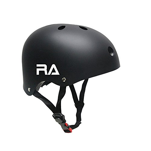 Bike Helmet,RA CPSC Certified Adjustable Kids and Adult Skateboard Helmet for Multi-sports Cycling Skateboarding Roller Skate Inline Skating Scooter Rollerblading Longboard -Black
