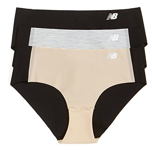 New Balance para mujer Laser Hipster Panty 3-Pack Black/Concrete Grey Space Dye/Nude