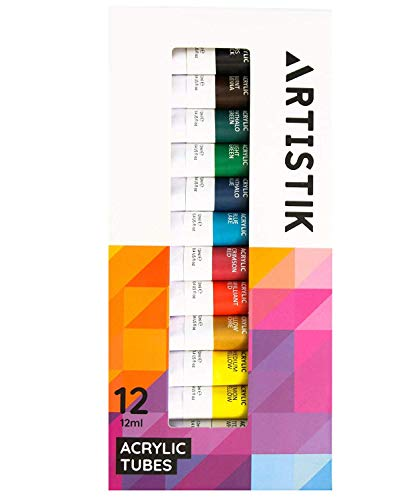 Acrylic Paint Set - 12 Piece Set of Professional Painting Acrylic Paints with Vivid Pigments and Rich Colours Perfect for Any Age and Skill Level (Set of 12 Tubes)