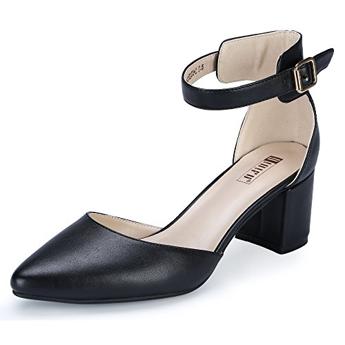 IDIFU Women's IN2 Pedazo-C Mid Chunky Heels Ankle Strap D'Orsay Pumps