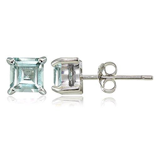 Sterling Silver Aquamarine 4mm Square Stud Earrings