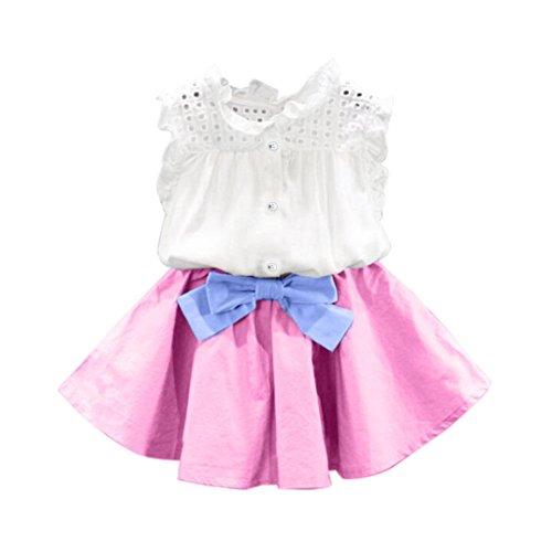 ARINLA 2PCS Infant Kids Baby Girls Apparel T-shirt + Bowknot Short Skirt (22 Victorian 1 Light)