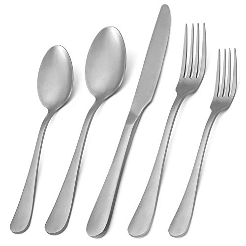 Vintage Silverware Set,20-Piece Stainless Steel Silver Grey Flatware Set With Round Edge,Kitchen Utensil Set Service for 4, Tableware Cutlery Set for Home and Restaurant, Dishwasher Safe -