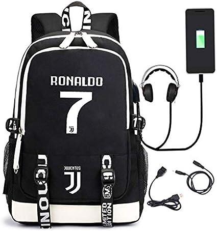 DDPP Mochila Estrella de fútbol Ronaldo Bolsa de Deporte, Juventus Mochila, Carga por USB, Resistente al Agua, Hombres/Mujeres para Chicas Adolescentes Niños,Negro