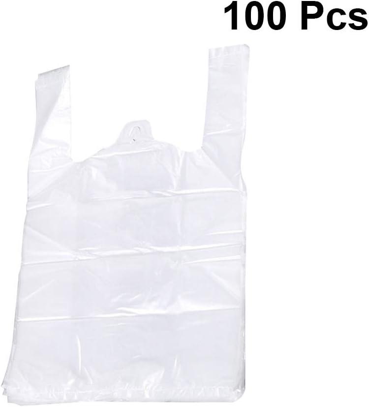Toyvian bolsas de plástico blancas con manija Bolsa de plástico de calidad alimentaria Bolsa de embalaje de alimentos Supermercado Supermercado 100pcs