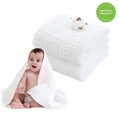 Baby Muslin Bath Towels(43x43 inches,2 Pack)-100% Natural Organic Cotton- Soft Gauze with 6-Layers Newborn Baby Towel & Swaddle Blanket for Sensitive Skin- Shower Gift White by CODOHI