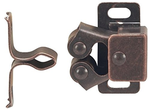 MPJ Double Roller Catch, Brown Antique Copper, with Screws, Contractor Pack (100) by MPJ (Image #1)