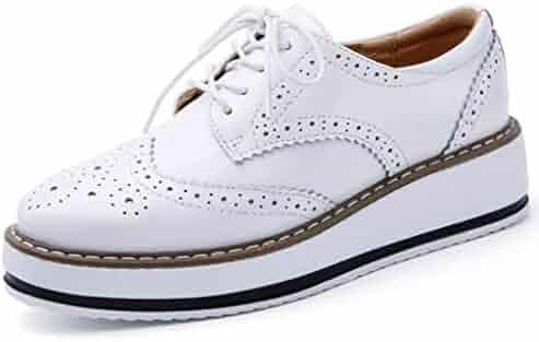 29d31beb88 DADAWEN Women s Platform Lace-Up Wingtips Square Toe Oxfords Shoe