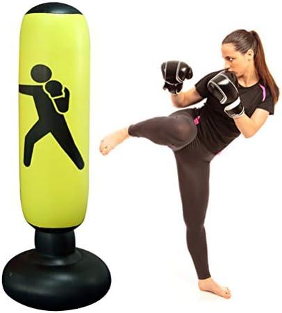 Knowooh Boxsack, Standboxsack Aufblasbare Boxsäule für Kinder und Erwachsene ab 6 Jahren zum Üben von Karate, Taekwondo, MMA(Gelb)