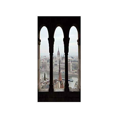 (Decorative Privacy Window Film/Hungarian Parliament on the Embankment of the Danube from Ancient Balcony Image/No-Glue Self Static Cling for Home Bedroom Bathroom Kitchen Office Decor Multicolor )