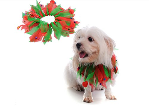 E&L Pet Christmas Holiday Jingle Bells Decorative Dog Collar (Small (Red & Green))