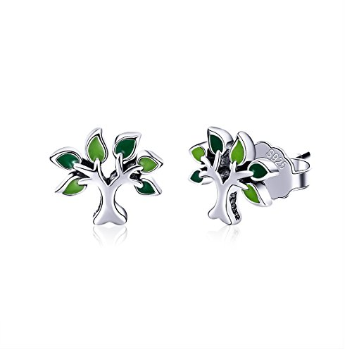BISAER Tree of Life 925 Sterling Silver Stud Earrings with Green Enamel Leaves, Cute Post Stud Earring Hypoallergenic Jewelry for Women. by BISAER (Image #7)'