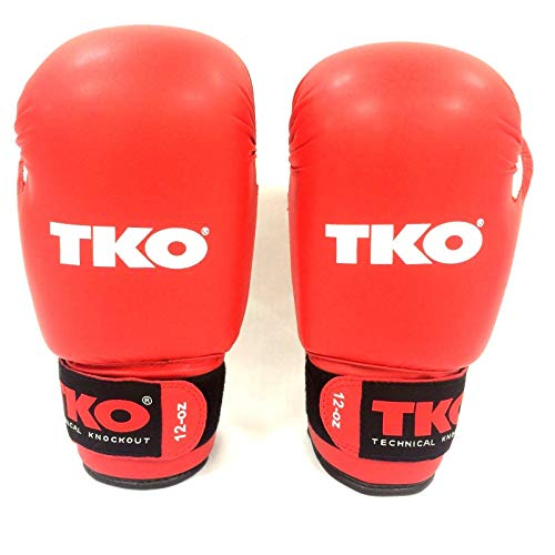 TKO Boxing Gloves Leather Red 16 oz