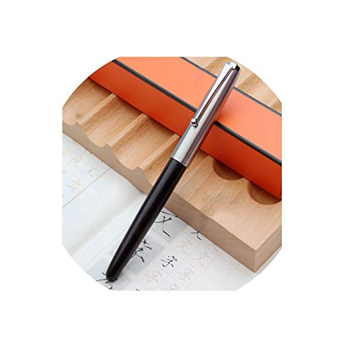 Wood Fountain Pen 0.38/0.5/0.8Mm Iridium Vulpen Writing Pluma Feather Parallel Pen,Black,0.8Mm