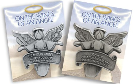 """Two (2) """"On The Wings of an Angel"""" Auto Visor Clips-1 Son Angel and 1 Travel Angel-2-3/4""""x21/4"""""""