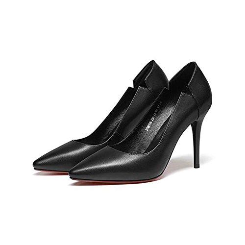 CJC Chaussures Bien Talon Sexy Peu Profond Bouche Pointu Chaussures Femelle Cuir Haute Talon Chaussure (Couleur : Blanc, Taille : EU36/UK4) Black