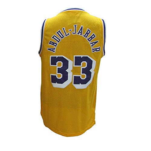 Dadode Men's #33 Kareem Jerseys Basketball Jerseys Abdul-Jabbar Retro Jersey Yellow (XXL)
