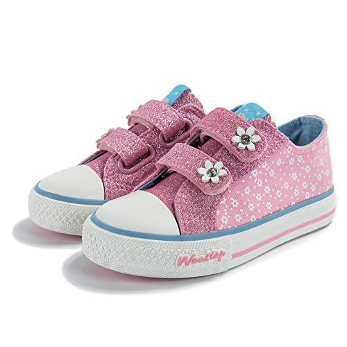 Weestep Toddler/Little Kid Glitter Double Strap Pink Sneaker (9 M US Toddler, Pink/Flower) ()