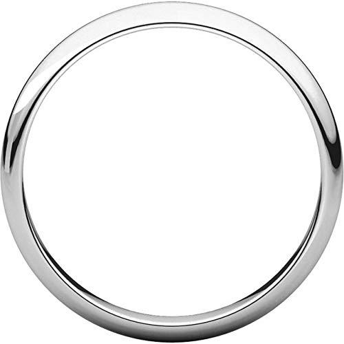 Mens 14K White Gold 2mm Half Round Wedding Band Ring