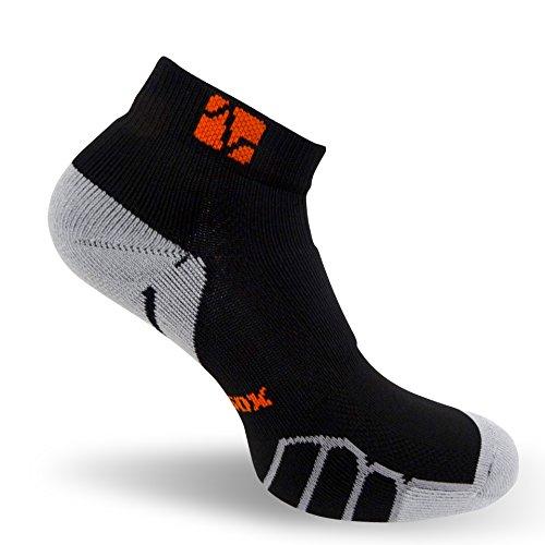 Vitalsox Italy Low Cut Running, Sport, Gym Light Weight Silver Drystat Socks, Black/Silver, Medium VT0210