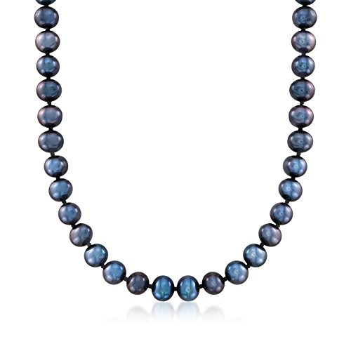 Ross-Simons 6-7mm Black Cultured Pearl Necklace With 14kt White Gold