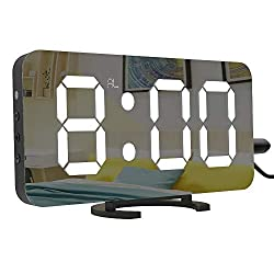 LightBiz Large Display Alarm Clock, Digital Clock Large 6.5 Easy-Read LED Display, Diming Mode, Easy Snooze Function, Mirror Surface, Dual USB Charger Ports
