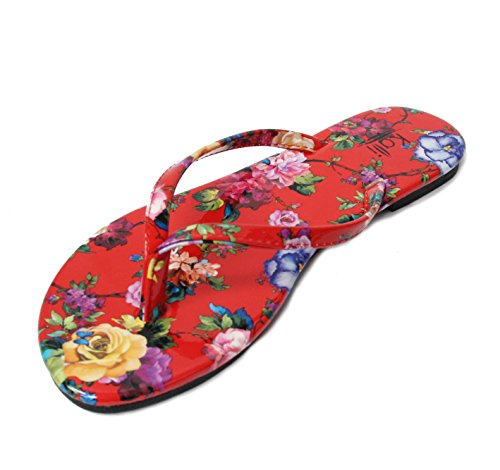 Kali Footwear Women's Twins Basic Patent Flat Thong Sandal (Red Flower, 8)