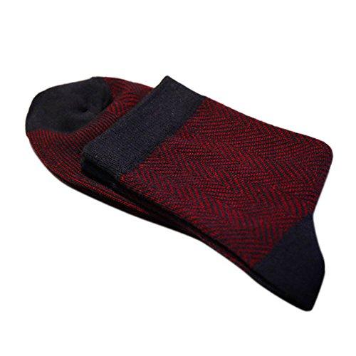Mens Business Ankle Socks Pure Cotton Classic Casual Sport Socks-Bordeaux
