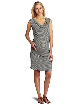 Three Seasons Maternity Women's Maternity Cowlneck Side Rouche Stripe Dress, Black White Stripe, X-Large