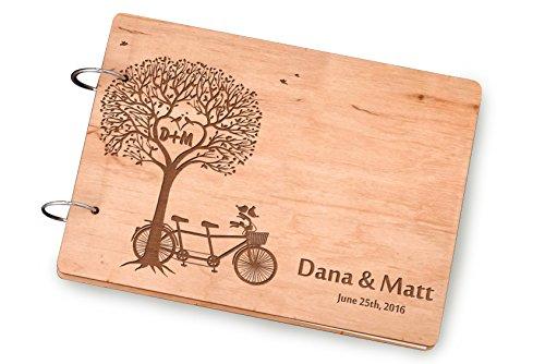 Tandem Bicycle Wedding Gift, Tree Custom Guestbooks Wedding, Cute Couple Birds Animal Unique Wedding Gift, Wooden Wedding Guest Book, Rustic Guest Books.