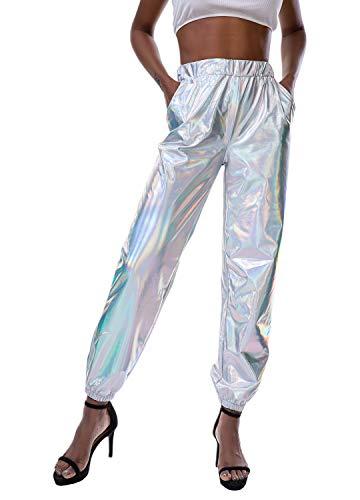 Metallic Pocket - Mocure Shiny Metallic Sweatpant Holographic Jogger Pants Tapered Pant with Pocket
