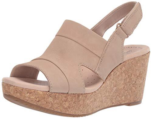 Nubuck Leather Wedge - CLARKS Women's Annadel Ivory Wedge Sandal Sand Nubuck 080 M US