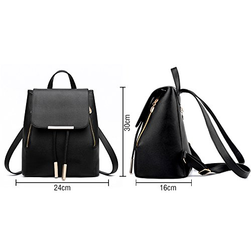 Girls Women Travel Blue PU Shoulder Fashion Rucksack Bag Ladies Backpack Leather bag 77Oxdzwqr