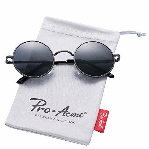 Pro Acme Retro Polarized Round Sunglasses Unisex Metal Frame Steampunk Glasses (Z Gunmetal Frame/Black - Metal Steampunk Arm