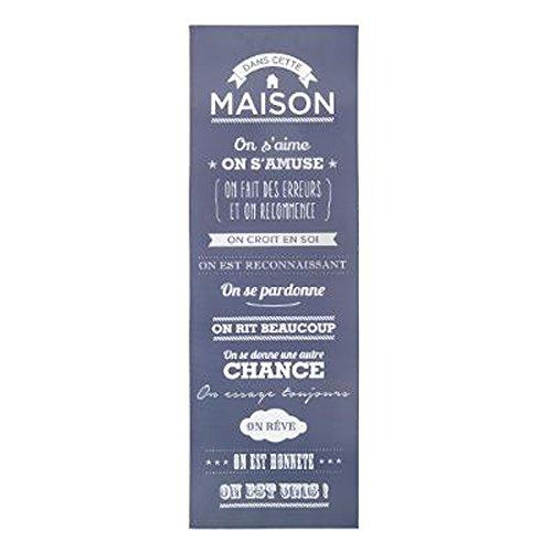 Paris Prix Toile Imprimé e rè gles De La Maison 30x90cm Bleu