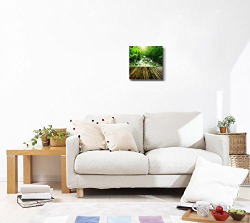 Wooden Platform and Tropical Mountain Stream with Sunbeam in a Morning Home Deoration Wall Decor