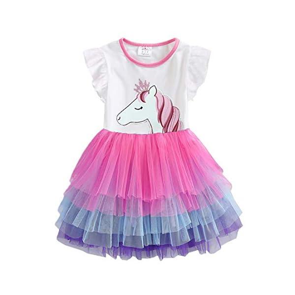VIKITA Vestito Cotone Stampa Principessa Tulle Tutu Festa di Compleanno Abito Bambina 1