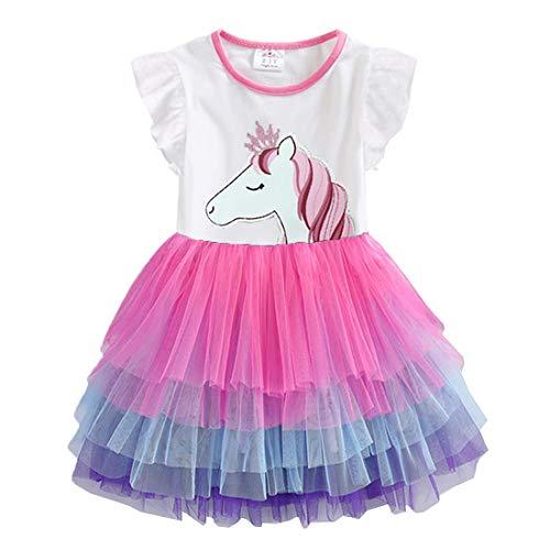 VIKITA Vestido Tul Algodón Bordado Unicornio para Niñas 2-8 Años