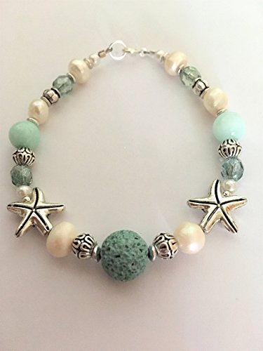 Essential Oil Diffuser Bracelet Starfish Charm, Cultured Freshwater Pearl, Coastal Beach Jewelry