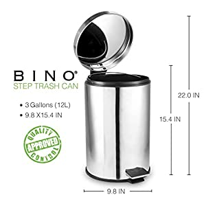 BINO Stainless Steel 3 Gallon/12 Liter Round Step Trash Can, Polished Chrome