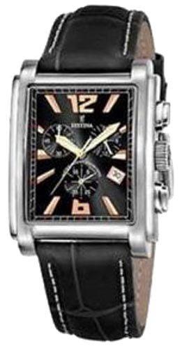 FESTINA Chrono F16081/7 - Reloj de caballero de cuarzo, correa de piel color negro: Amazon.es: Relojes