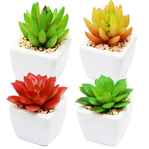 YOUR GIFT Succulent Plant Ceramics Container Set Faux Succulents Home/Garden Decoration/Any Place Planter Bonsai Pots with Sweet Gift Idea 4pcs