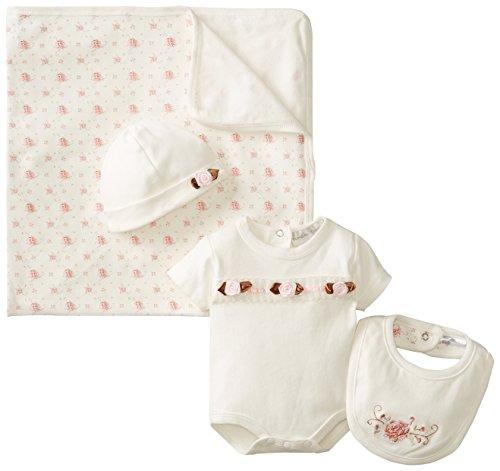 Rumble Tumble Baby Girls Newborn Floral Creeper Blanket Set, Ivory, Preemie