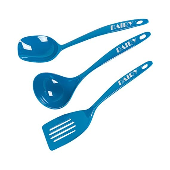 Dairy Blue Kitchen Utensil Set - 3 Piece Set, Spoon, Ladle and Spatula – Heavy Duty Melamine - Color Coded Kitchen Tools by The Kosher Cook 1 HIGH GRADE KITCHEN UTENSILS: Make your work in the kitchen an absolute breeze whether you're cooking a savory meal or baking delicious sweets with top quality and long lasting utensils! COLOR CODED KOSHER UTENSILS: Made to make life easier in the Jewish home, separate dairy, meat and parev products with ease color coded and labeled blue, red and green kitchen tools INCREDIBLY VERSATILE TOOLS: Perfect for numerous situations, there's nothing are large assortment of tools can't do! Preparing meals and dishes of any kind in any way you need will be fast and easy.