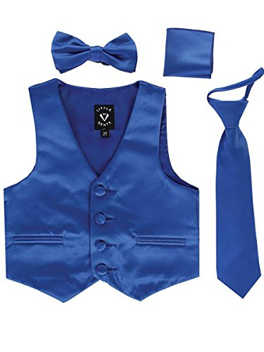 Royal Blue Infant Boys 4 Piece Formal Satin Vest Set Zipper Tie Bowtie Hanky 3-6 Months