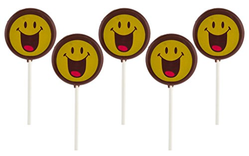 Smiley World Emoji Face Expressions Dark Chocolate Lollipops Sucker